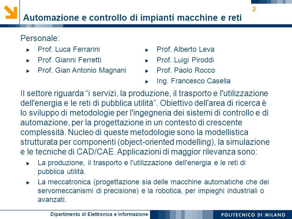 Automazione e controllo di impianti macchine e reti