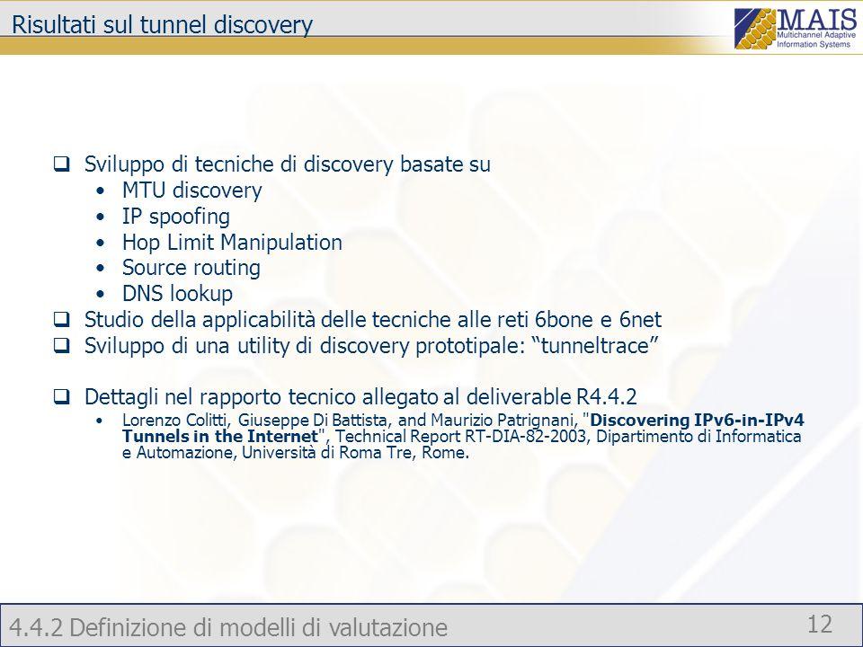 Risultati sul tunnel discovery