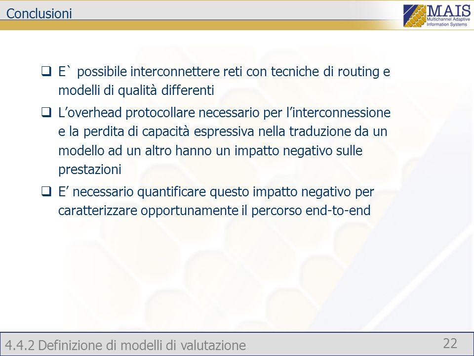 Conclusioni E` possibile interconnettere reti con tecniche di routing e modelli di qualità differenti.