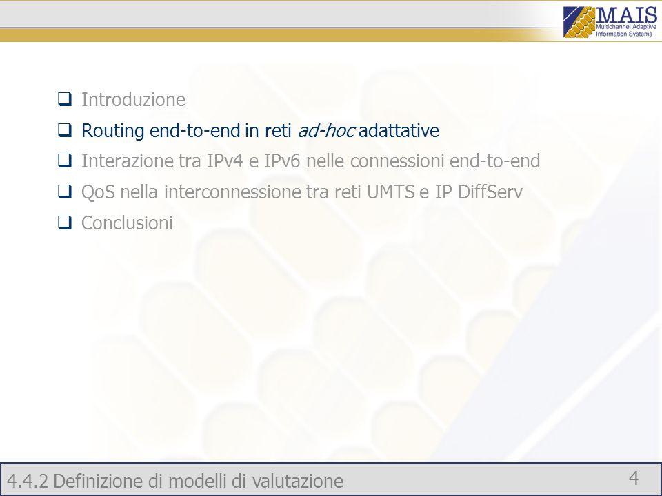 Introduzione Routing end-to-end in reti ad-hoc adattative. Interazione tra IPv4 e IPv6 nelle connessioni end-to-end.