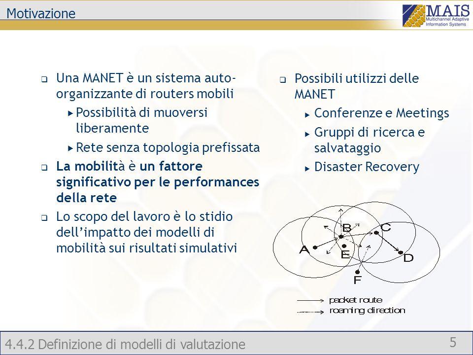 Motivazione Una MANET è un sistema auto-organizzante di routers mobili. Possibilità di muoversi liberamente.