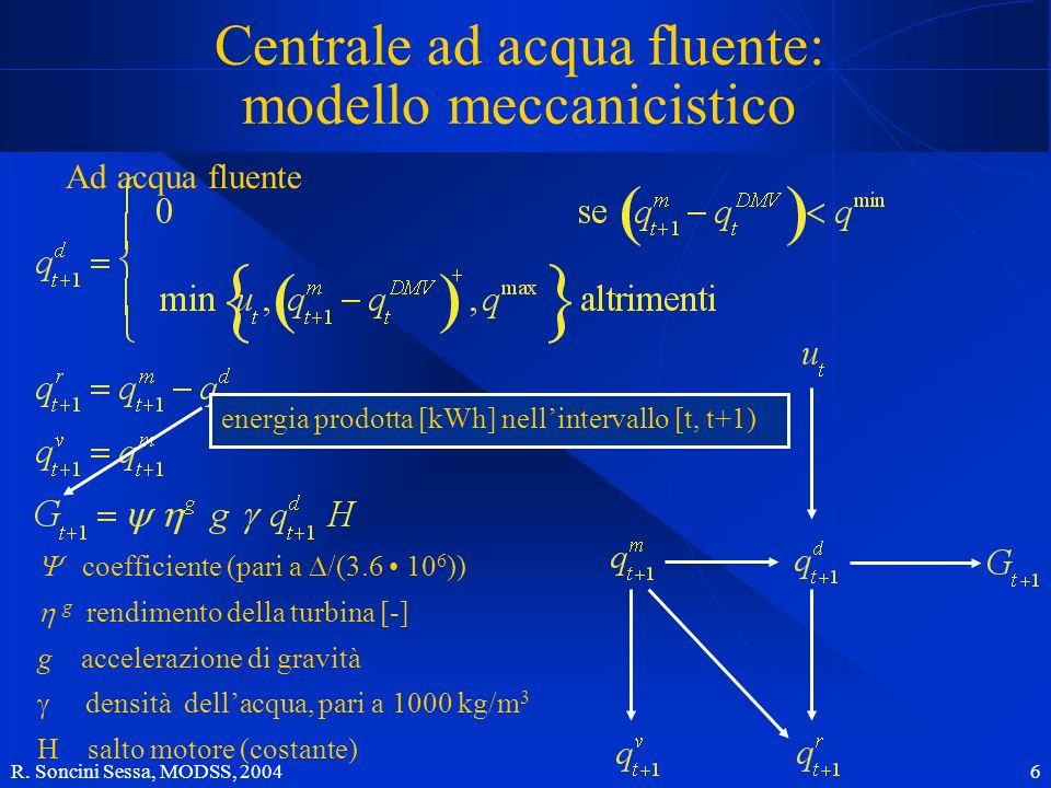 Centrale ad acqua fluente: modello meccanicistico