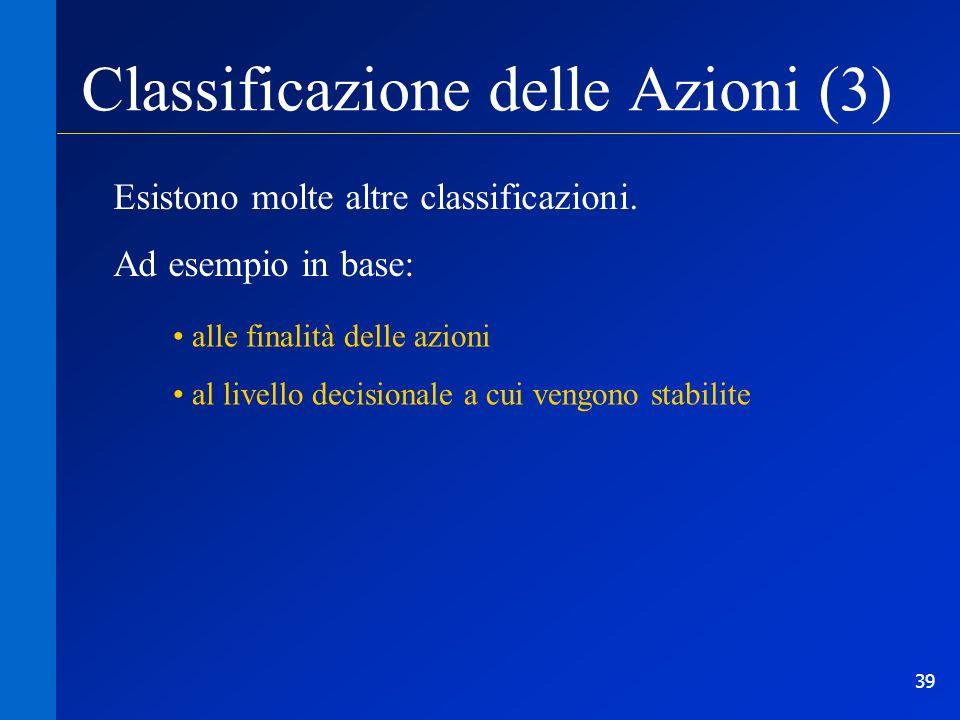 Classificazione delle Azioni (3)
