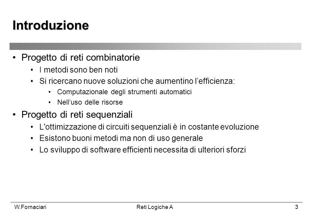 Introduzione Progetto di reti combinatorie