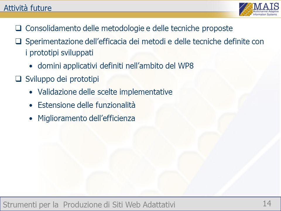 Attività future Consolidamento delle metodologie e delle tecniche proposte.