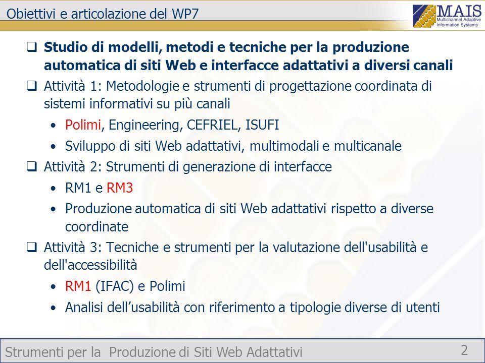 Obiettivi e articolazione del WP7