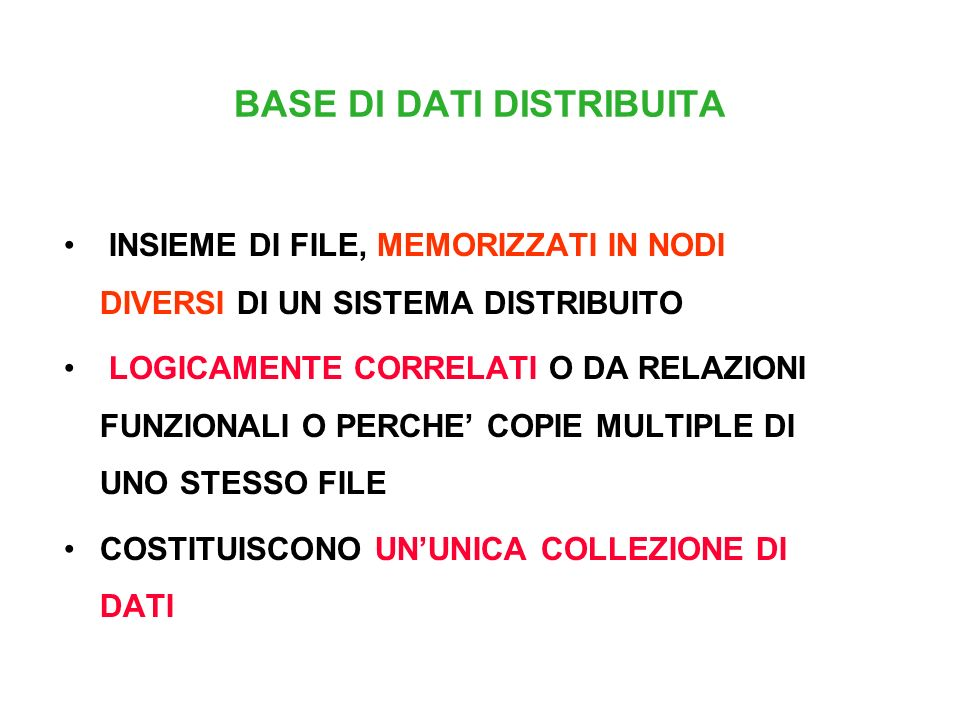 BASE DI DATI DISTRIBUITA