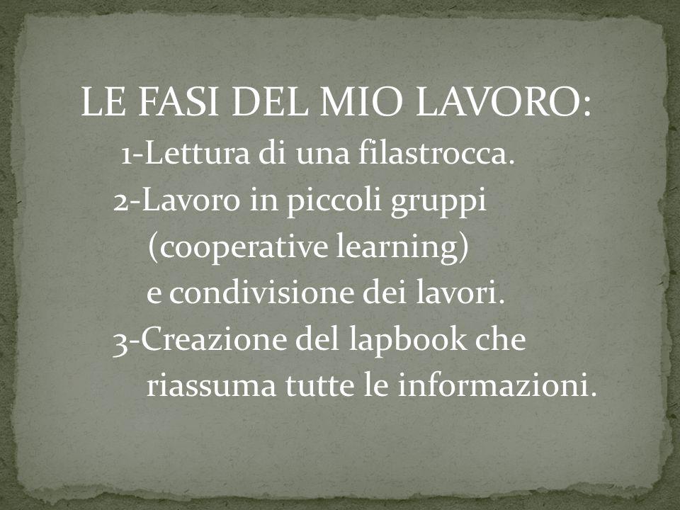 LE FASI DEL MIO LAVORO: 1-Lettura di una filastrocca.