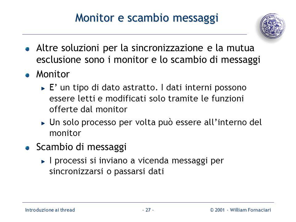 Monitor e scambio messaggi