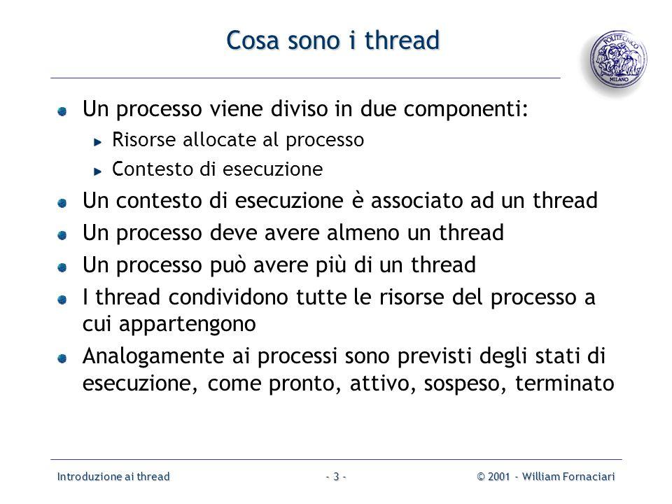 Cosa sono i thread Un processo viene diviso in due componenti: