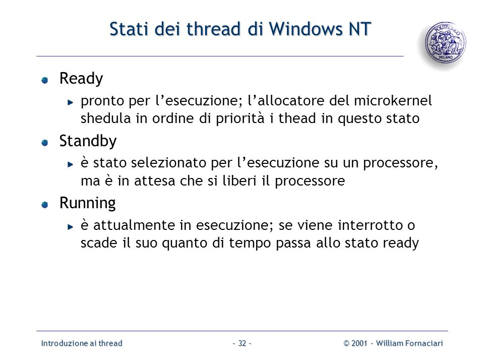 Stati dei thread di Windows NT