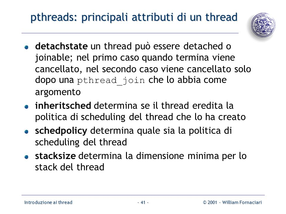 pthreads: principali attributi di un thread