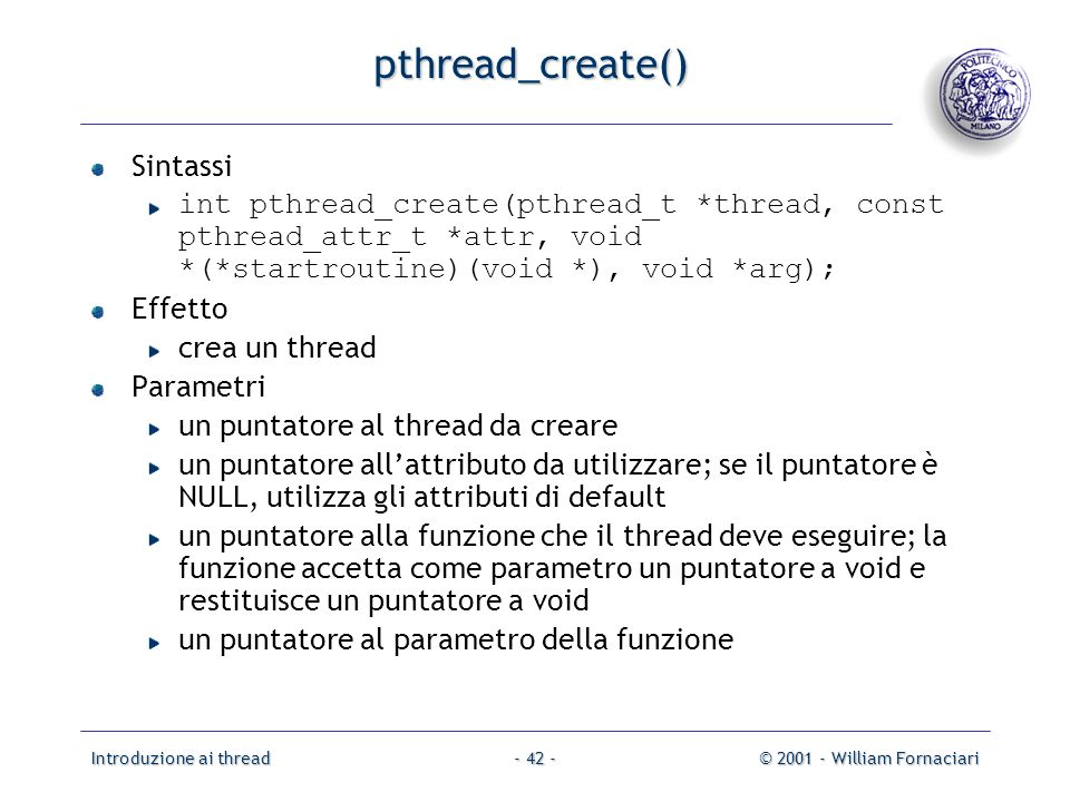 pthread_create() Sintassi
