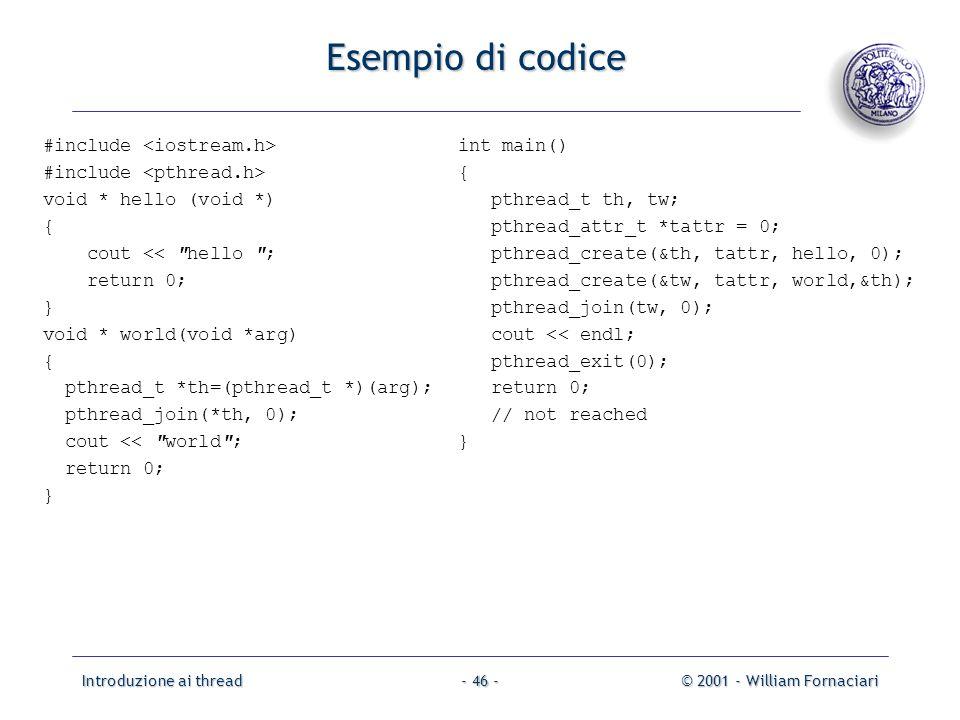 Esempio di codice #include <iostream.h>