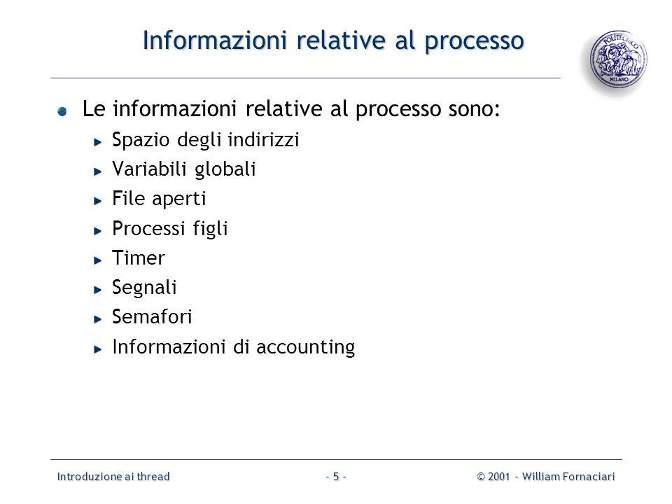 Informazioni relative al processo