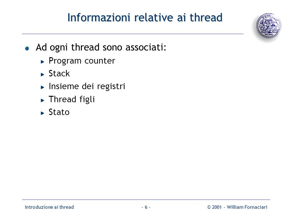 Informazioni relative ai thread