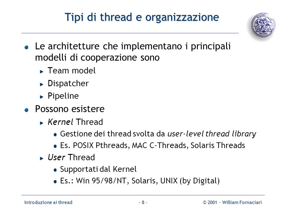 Tipi di thread e organizzazione
