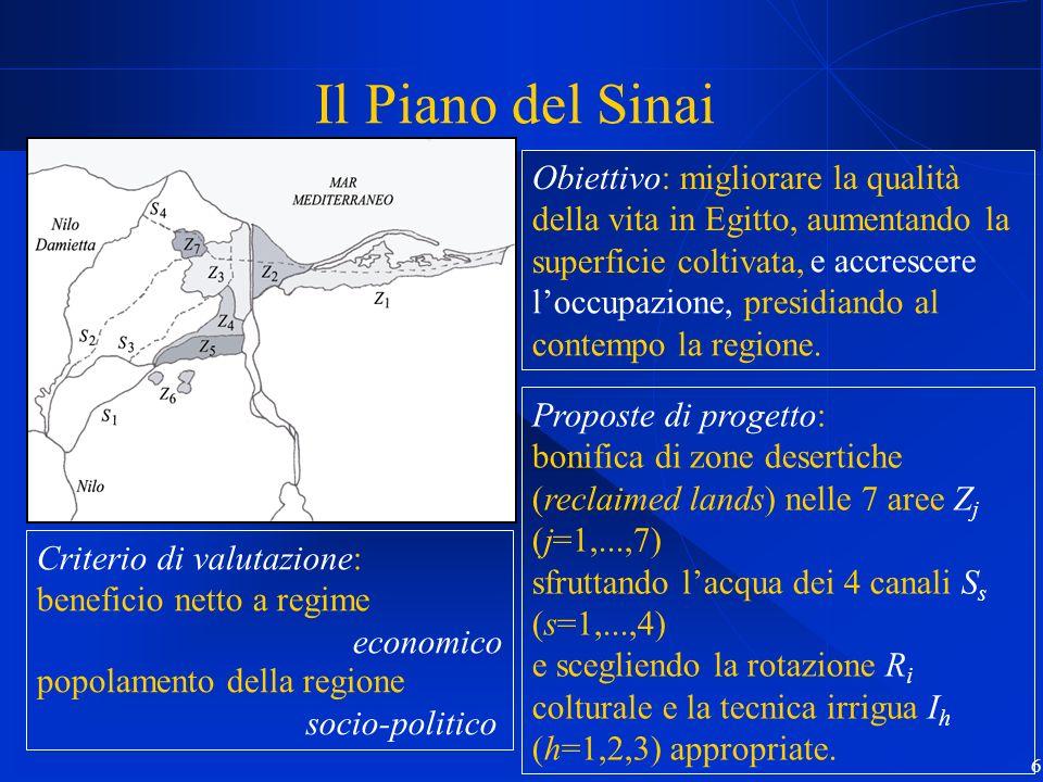 Il Piano del Sinai Obiettivo: migliorare la qualità della vita in Egitto, aumentando la superficie coltivata,