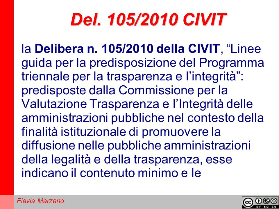 Del. 105/2010 CIVIT