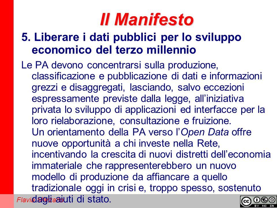 Il Manifesto 5. Liberare i dati pubblici per lo sviluppo economico del terzo millennio.