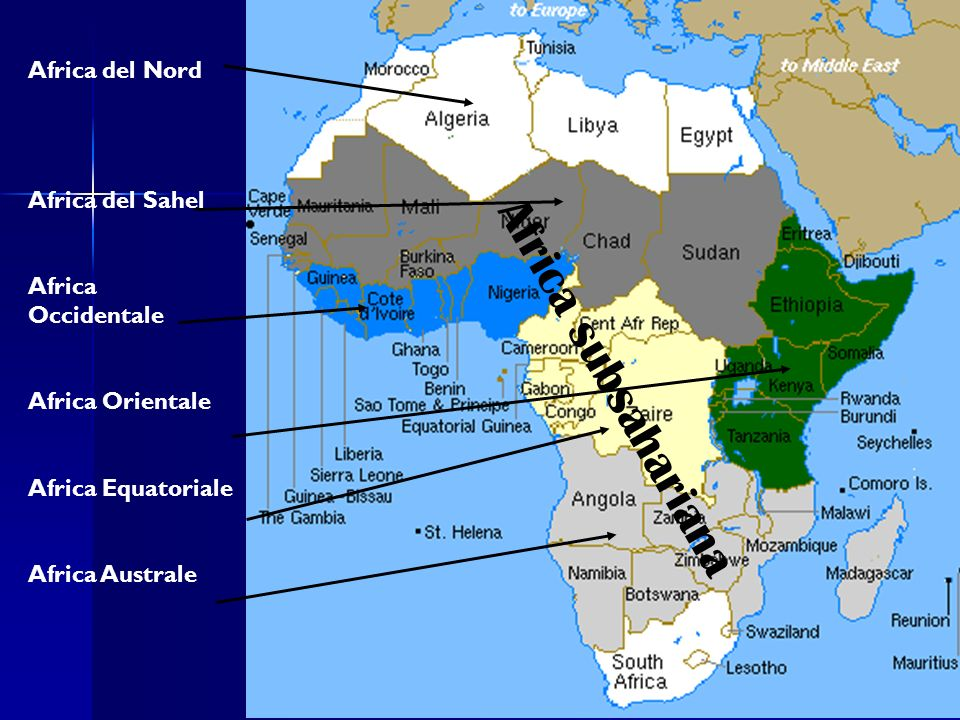 Africa subsahariana Africa del Nord Africa del Sahel