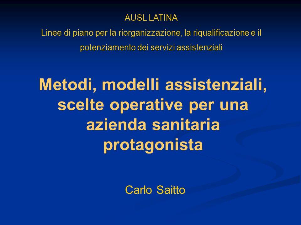 AUSL LATINA Linee di piano per la riorganizzazione, la riqualificazione e il potenziamento dei servizi assistenziali.
