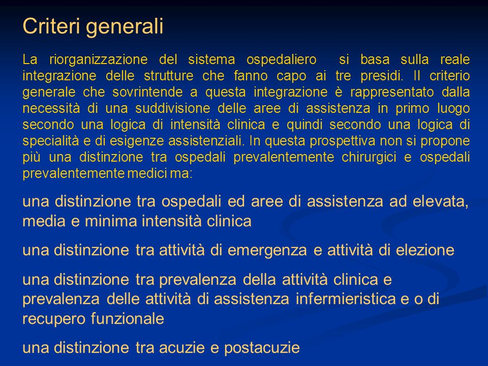 Criteri generali