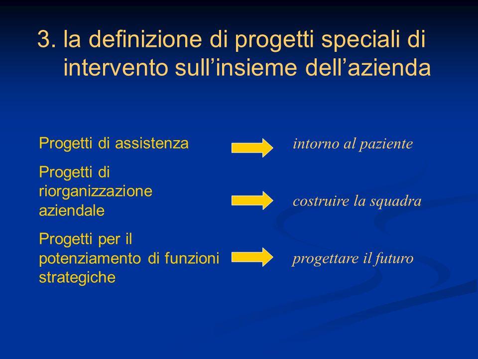 3. la definizione di progetti speciali di