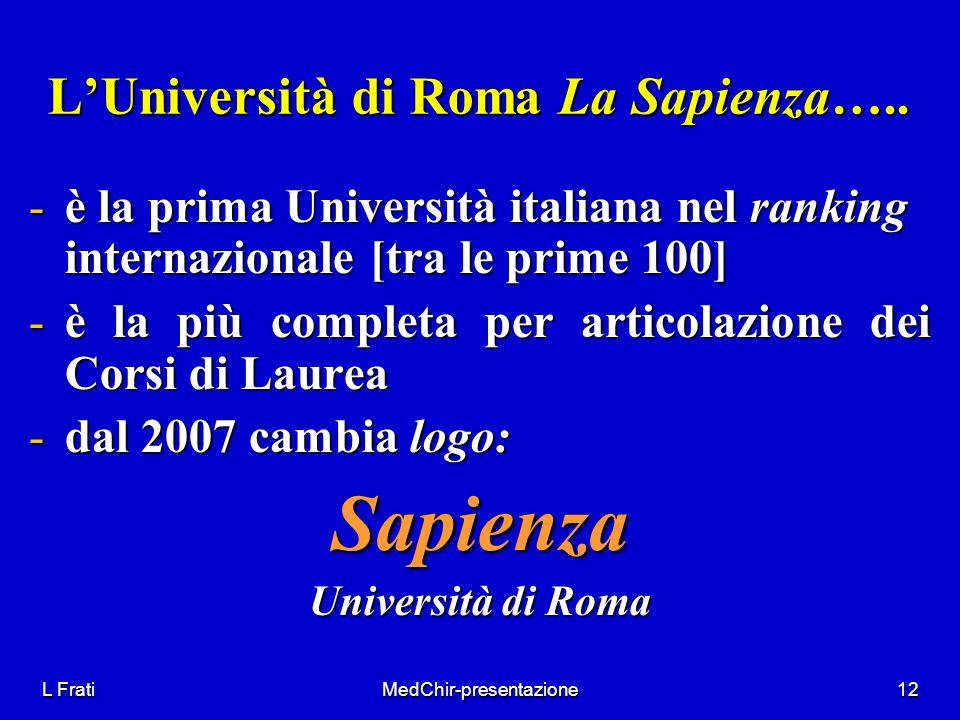 L'Università di Roma La Sapienza…..