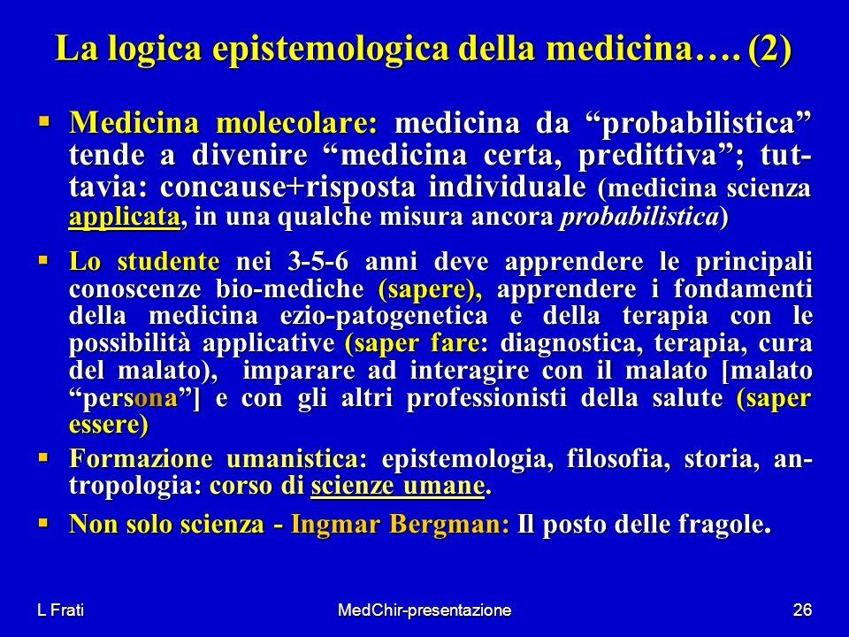 La logica epistemologica della medicina…. (2)