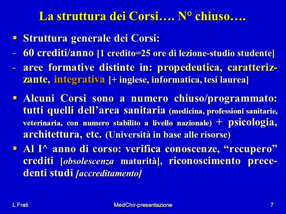 La struttura dei Corsi…. N° chiuso….