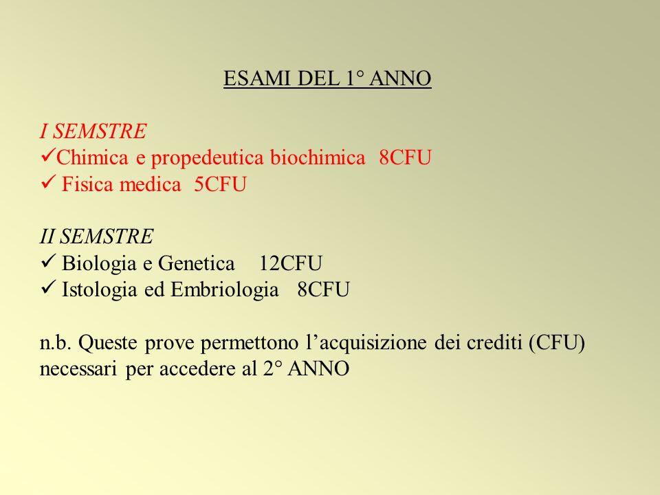 ESAMI DEL 1° ANNO I SEMSTRE. Chimica e propedeutica biochimica 8CFU. Fisica medica 5CFU. II SEMSTRE.