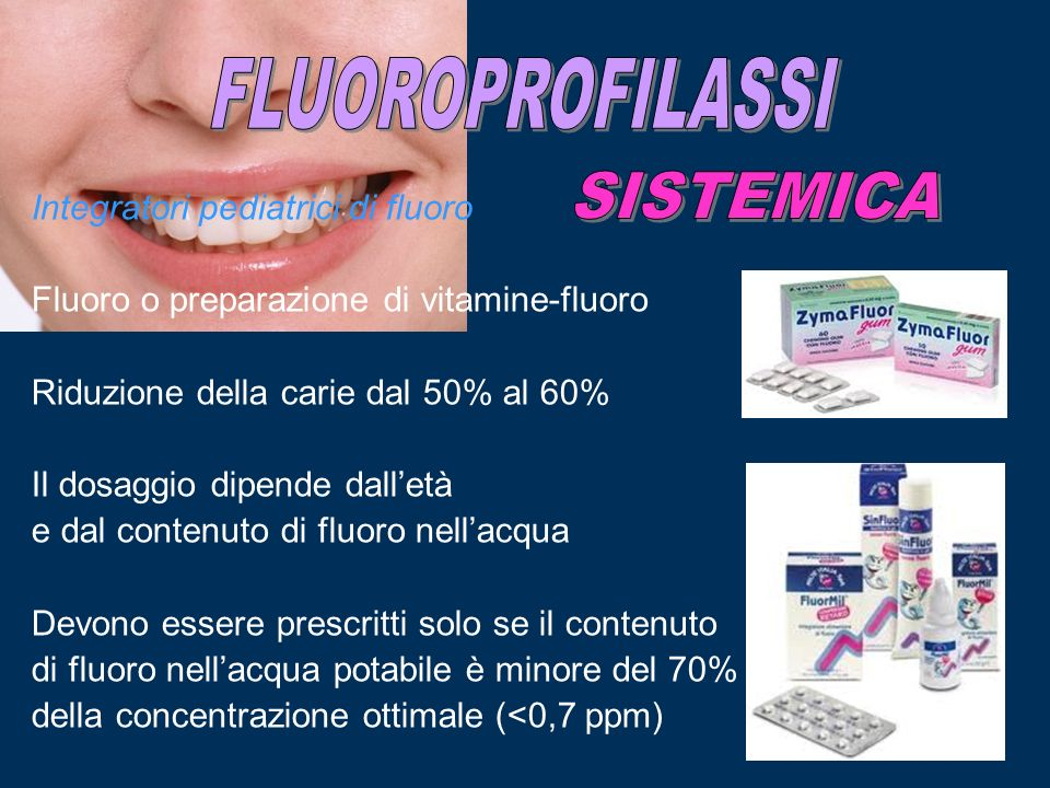FLUOROPROFILASSI SISTEMICA Integratori pediatrici di fluoro