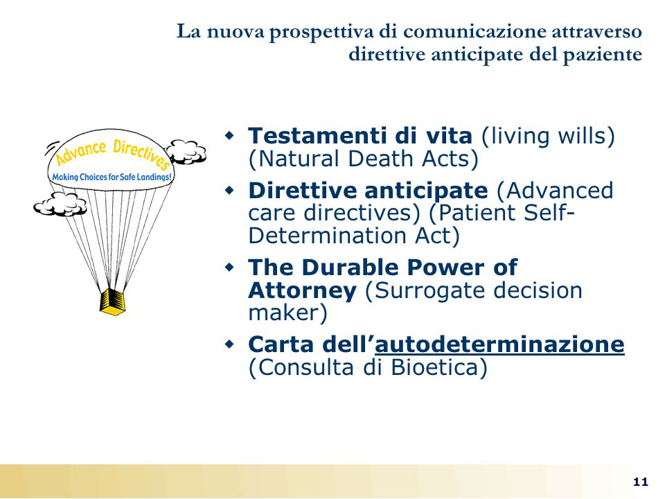 Testamenti di vita (living wills) (Natural Death Acts)
