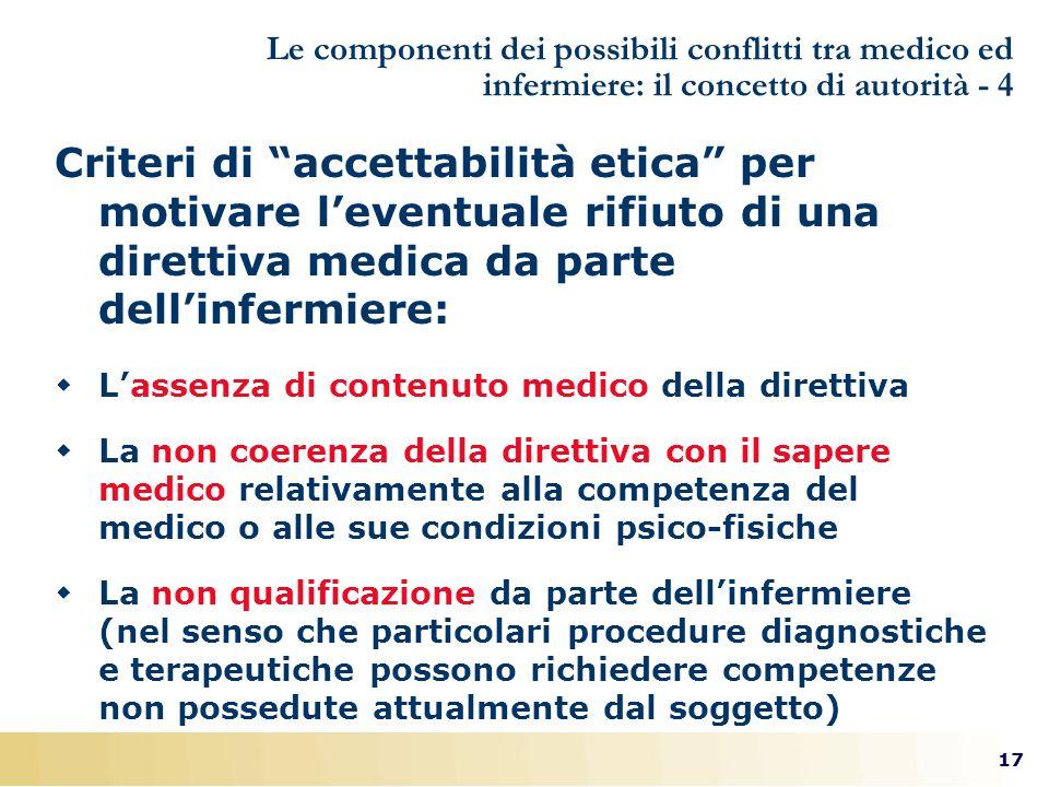 Le componenti dei possibili conflitti tra medico ed infermiere: il concetto di autorità - 4