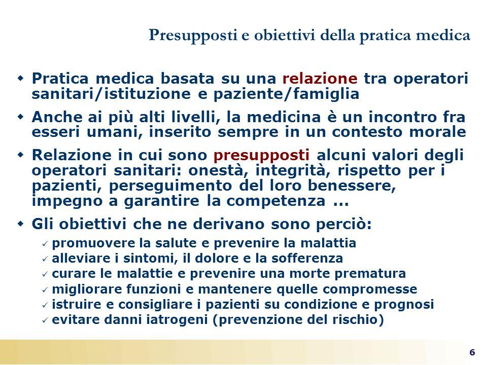 Presupposti e obiettivi della pratica medica