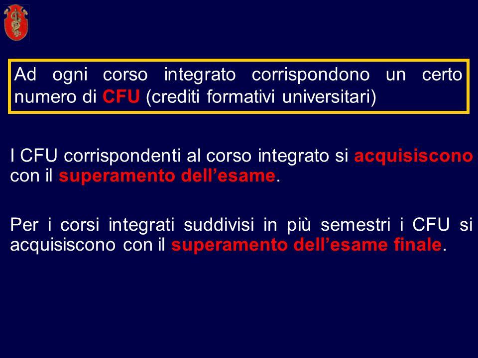 Ad ogni corso integrato corrispondono un certo numero di CFU (crediti formativi universitari)