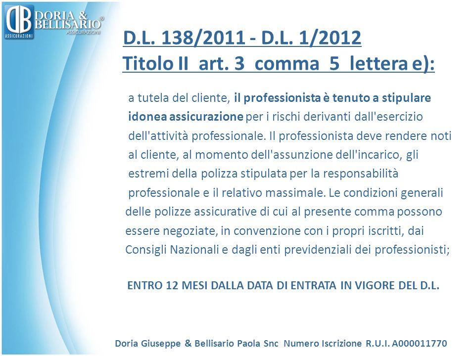 D.L. 138/2011 - D.L. 1/2012 Titolo II art. 3 comma 5 lettera e):