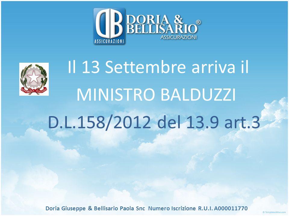 Il 13 Settembre arriva il MINISTRO BALDUZZI
