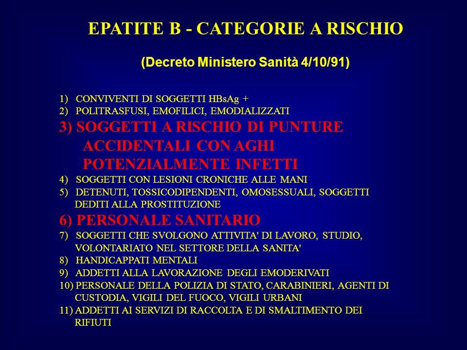 EPATITE B - CATEGORIE A RISCHIO (Decreto Ministero Sanità 4/10/91)