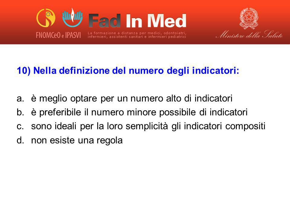 10) Nella definizione del numero degli indicatori: