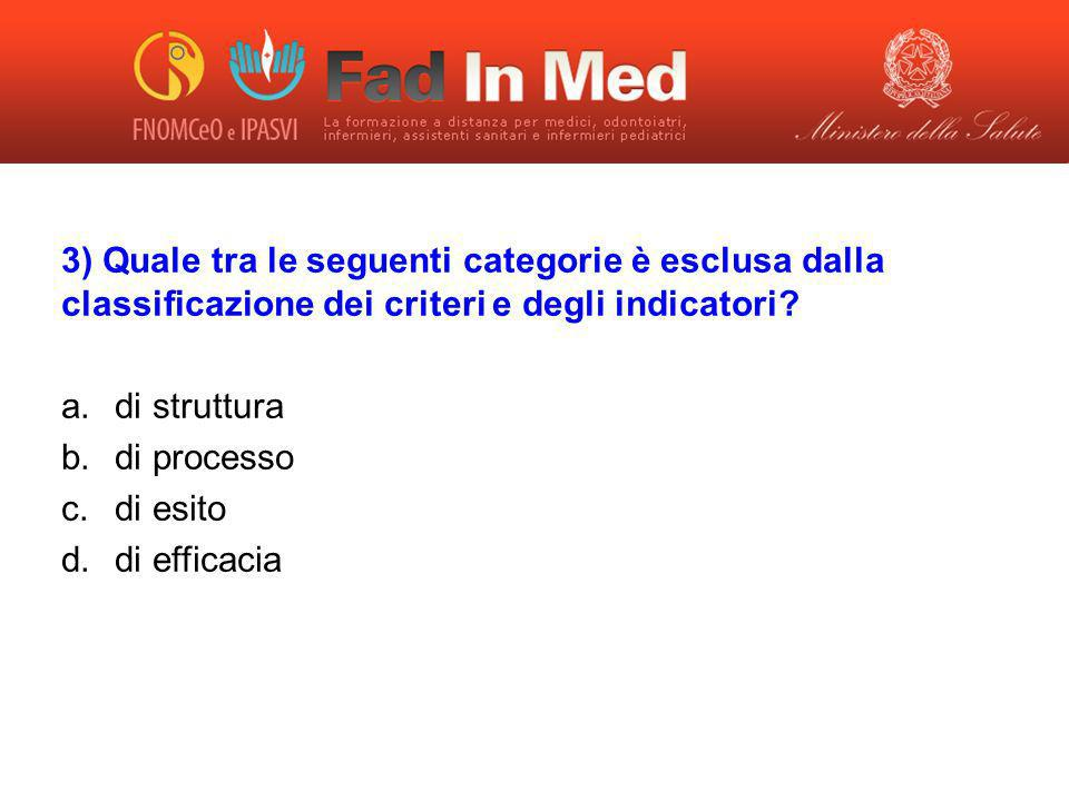 3) Quale tra le seguenti categorie è esclusa dalla classificazione dei criteri e degli indicatori