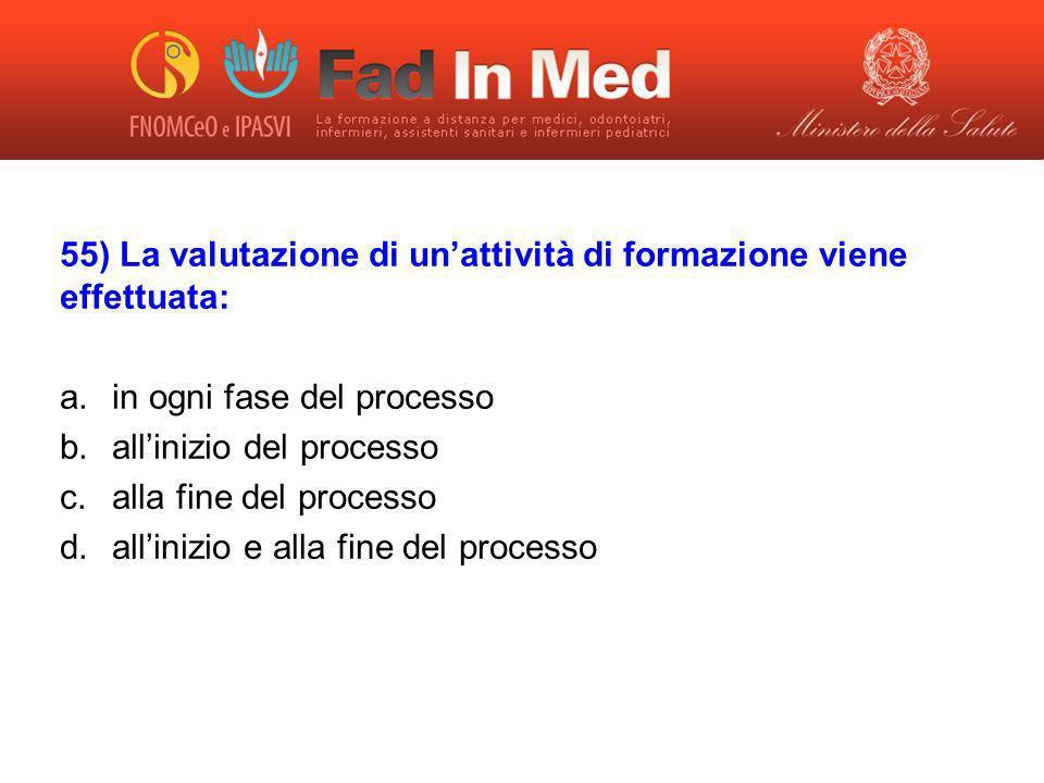 55) La valutazione di un'attività di formazione viene effettuata: