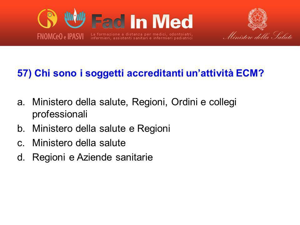57) Chi sono i soggetti accreditanti un'attività ECM