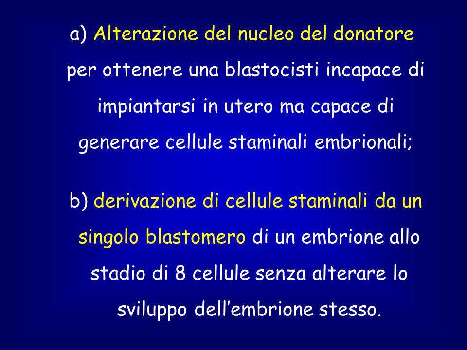 a) Alterazione del nucleo del donatore per ottenere una blastocisti incapace di impiantarsi in utero ma capace di generare cellule staminali embrionali;