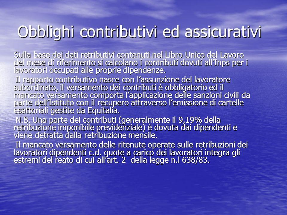 Obblighi contributivi ed assicurativi