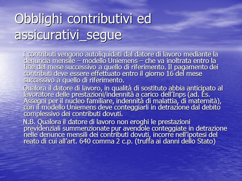Obblighi contributivi ed assicurativi_segue