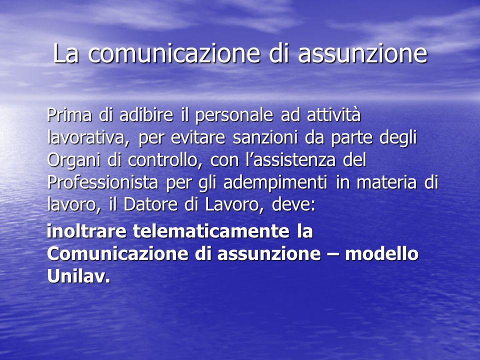 La comunicazione di assunzione