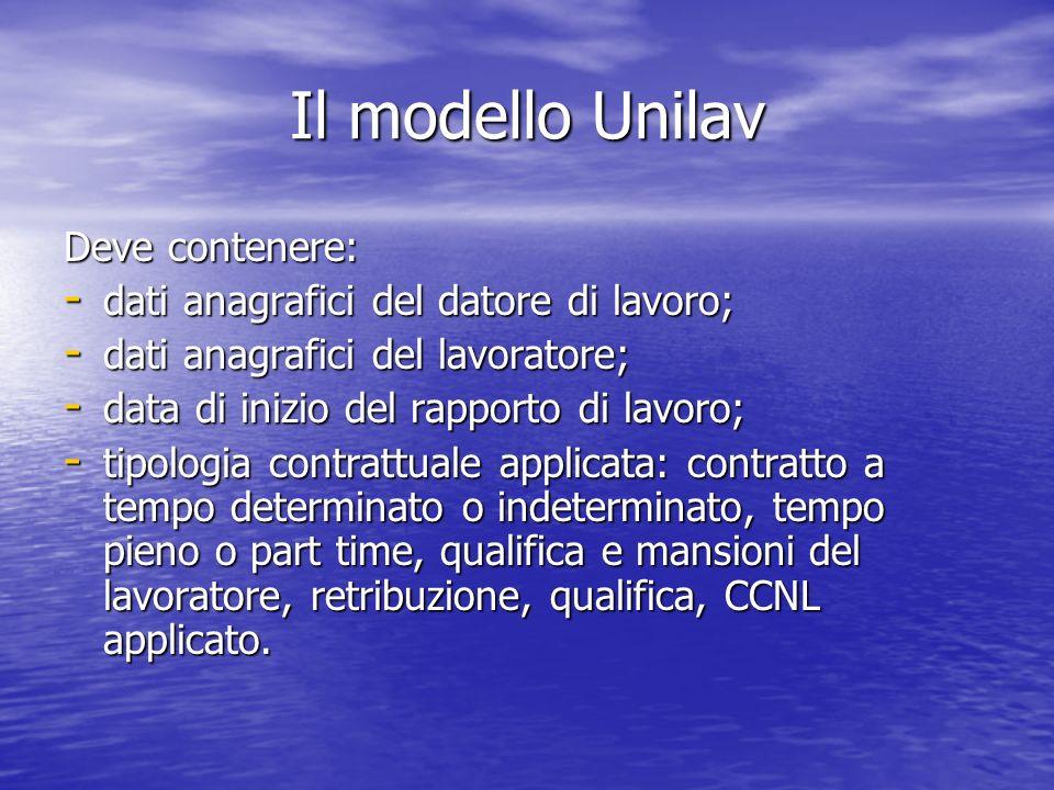Il modello Unilav Deve contenere: