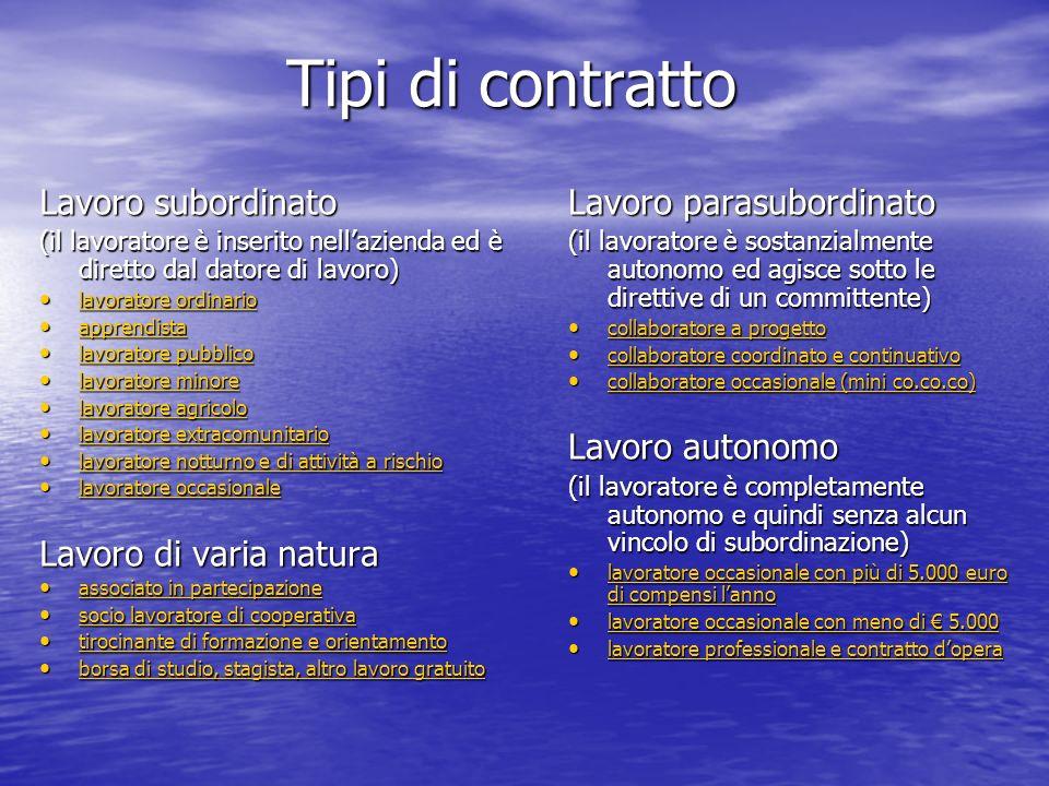 Tipi di contratto Lavoro subordinato Lavoro di varia natura